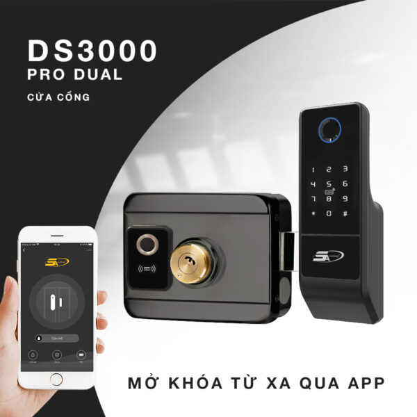 Khóa Vân Tay Mở Cửa Từ Xa Wifi 5A Ds3000 Pro Dual